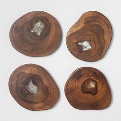 $10 Round Acacian Wooden Coasters - Set of 4 - Threshold™ : Target