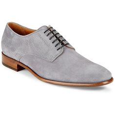 Bruno Magli Werter Perforated Leather Derby Shoes ($200) ❤ liked on Polyvore featuring men's fashion, men's shoes, men's dress shoes, mens gray dress shoes, mens leather shoes, mens lace up dress shoes, mens grey leather dress shoes and mens leather lace up shoes