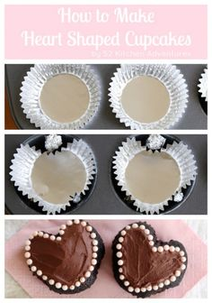 Learn how to make heart shaped cupcakes in a regular pan - all you need is aluminum foil and foil baking cups. You won't believe how easy this method is! Valentines Day Treats, Holiday Treats, Holiday Recipes, Valentine Cupcakes, Köstliche Desserts, Delicious Desserts, Chocolate Desserts, Cupcake Recipes, Dessert Recipes