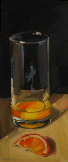 Orange Juice. Oil on Board. 5 x 12 inches.
