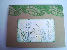 Kraft color card stock green paisley flourish blank card by Wcards, $3.00