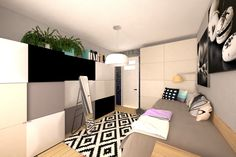 Pokój zaprojektowany dla nastolatki