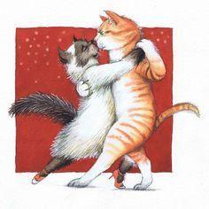 A Cat Doesn't Tango by Birde Poulsen - Denmark Más I Love Cats, Crazy Cats, Tango Art, Cat Couple, Dancing Cat, Flamenco Dancers, Cat Drawing, Cat Art, Cats And Kittens