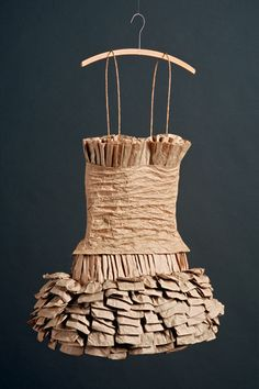 "℘ Paper Dress Prettiness ℘ art dress made of paper - ""Bag Lady I"" by Cynthia Jensen Recycled Dress, Recycled Art, Paper Fashion, Fashion Art, Paper Clothes, Paper Dresses, Barbie Clothes, Contemporary Baskets, Tea Bag Art"