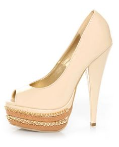 CUTE!!  Shoe Republic LA Leisure Blush Patent Chained Platform Pumps