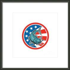 Catfish Swimming American Flag Circle Cartoon Framed Print By Aloysius Patrimonio
