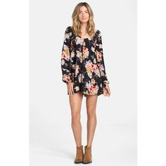 Junior Billabong 'Secret Moons' Print Romper ($60) ❤ liked on Polyvore featuring jumpsuits, rompers, multi, long sleeve rompers, long sleeve v neck romper, billabong, floral romper and flower print romper