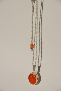 Necklace & Pendat, Handcut Silver, Carnelian - jewelry by Nicole Bolze ORIGINALS