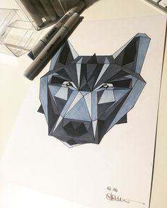 Sieh dir dieses Instagram-Foto von @annikaangeliqua an • Gefällt 64 Mal Art by annikaangeliqua wolf copics geometric blue