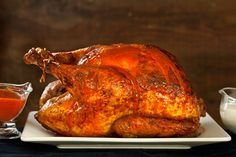 Buffalo Roasted Turkey with Blue Cheese Sauce = going to try this with a chicken.
