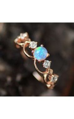 Fancy Rose Gold Plated Art Deco Opal Promise Ring