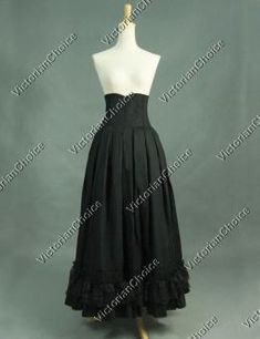 Victorian Edwardian Downtown Abbey High-Waisted Pleated Black Period Walking Skirt Witch Reenactment Halloween Costume
