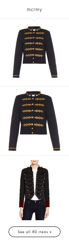"""""""mcrmy"""" by bringmethetacos85 ❤ liked on Polyvore featuring outerwear, jackets, navy, stand up collar jacket, embroidery jackets, muveil, navy jacket, military jacket, military style jacket и navy blue military jacket"""