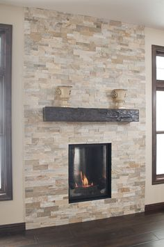 Stacked Stone Fireplace | Stacked stone fireplace with energy ...