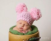 Baby girl hat - Pretty in pink cotton crocheted pom pom sack hat - MADE TO ORDER. $24.00, via Etsy.
