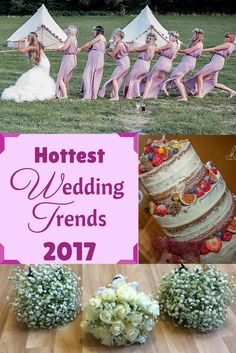 2017 's hottest wedding trends! Everything from outdoor wedding games, naked caked, mismatched bridesmaid dresses, naked cakes, creative photography and bridal beauty looks! Pretty pictures and wedding inspiration guaranteed!