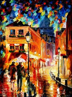 Rainy Night — PALETTE KNIFE Oil Painting On Canvas By Leonid Afremov #AfremovArtStudio #afremov #art #painting #fineart