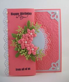 Interesting tri-fold card---love that one panel is embossed. #papercraft #card