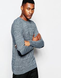 ASOS Crew Neck Jumper with Elbow Patches in Cotton