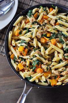 Pork Recipes, Pasta Recipes, Cooking Recipes, Creamy Pasta Dishes, Sage Sausage, Simple Green Salad, Pork Bacon, Penne Pasta, Mediterranean Recipes