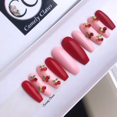 The Perfect Manicure that's applied in Seconds. Custom Press On Nails Bling Nails, Swag Nails, Cherry Nails, Les Nails, Hello Kitty Nails, Fire Nails, Red Nail Designs, Best Acrylic Nails, Crazy Nails