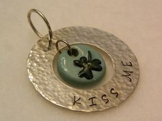 Hand Stamped Sterling Pendant St Patricks Day KISS ME, shamrock bead  IBHandmade It's Better Handmade $32.00