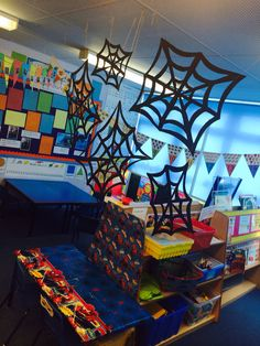 The beginning of a themed Spiderman writing pod