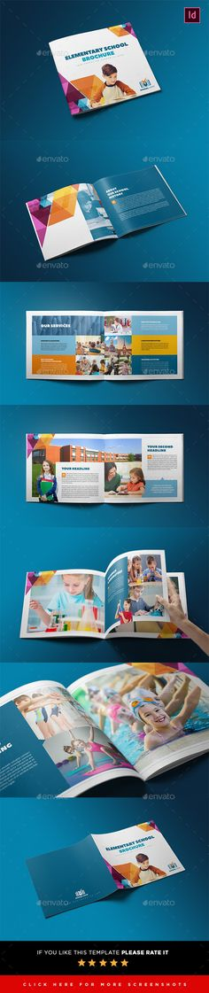 Elementary School Brochure Template by interado 20 Pages education brochure template. This layout is suitable for any project purpose. Very easy to use and customise. - 24×21 cm