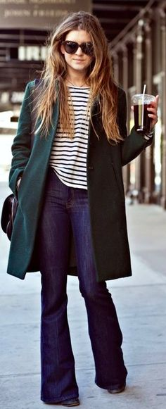 wide leg jeans + striped tee.