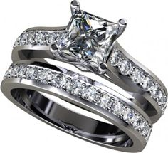 $798.00  Beautiful! 2.50Ct Princess Cut Engagement Ring Available In 14K, 18K and Platinum