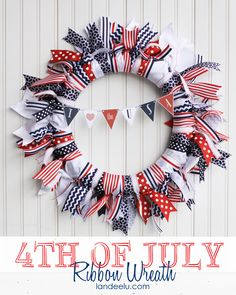 Patriotic Ribbon Wreath with Free Mini Bunting printable from landeelu.com