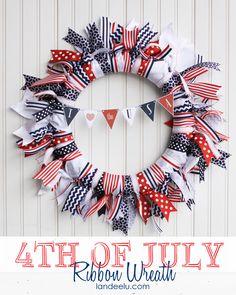 Patriotic Ribbon Wreath with Free Mini Bunting printable from landeelu.com