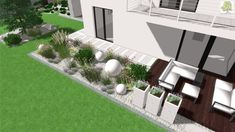 nowoczesny ogród - kompozycja betonowych kul, kosodrzewiny i czosnków Small Garden Landscape, Backyard Landscaping, Room Inspiration, Decoration, Sidewalk, Pergola, Patio, Fun, Outdoor