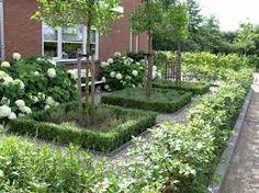 beukhaagjes als omheining, hortensias voor het huis en vakken om de bomen