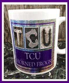 Coffee Mug 11oz Dishwasher safe TCU Horned Frogs by WhatsInANameCustomAr on Etsy