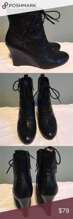 NWT Nine West NWT Nine West Okeya Black Leather wedge.  The perfect boot you can dress up or down.  Thanks for looking! Nine West Shoes Heeled Boots