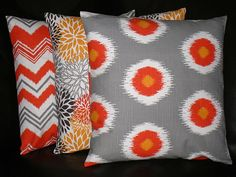 "Pillows Decorative Pillows TRIO chevron, bloom, ikat 18 inch Throw Pillow Covers gray 18"" orange, brown, grey, chili pepper. $44.00, via Etsy."