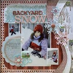 Winter scrapbook page with layering. The wave is mounted on foam dots to give dimension to the layout.
