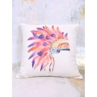 """Add some fun to your décor with this colorful headdress pillow!   18"""" x 18""""   100% polyester fiberfill   Spot clean only with damp cloth   Imported"""