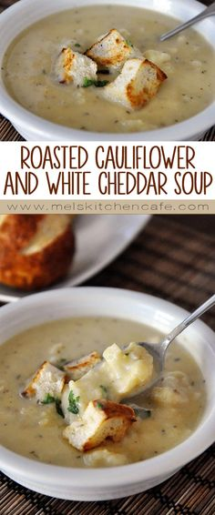 This Roasted Cauliflower and White Cheddar Soup is a delicious, lightened up creamy soup that is perfect for fall.