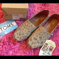 Leopard Print Burlap Toms Very very cute shoes I thought they would fit perfect but to big for me TOMS Shoes Flats & Loafers