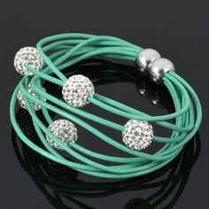 Mint, leather and crystals. What more could you ask for? Pandora Bracelets, Crystal Bracelets, Aqua, Mint, Pandora Charm Bracelets, Peppermint, Water