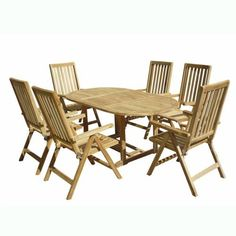 VIFAH V1143SET1 Outdoor Seven-Piece Teak Dining Set with Oval 3-Piece Table and 6 Oudoor Pos Teak Chairs by VIFAH. $2589.00. Table dimensions: 71-inches L by 39-inches W by 30-inches H - chair dimensions: 24-inches L by 28-inches W by 44-inches H. Harvested from certified forests with natural oils in the wood act as preservatives to resist insect attack and decay. Includes: 1 outdoor teak oval 3-piece table and 6 outdoor pos teak chairs - durable for outdoor/indoor use. ...