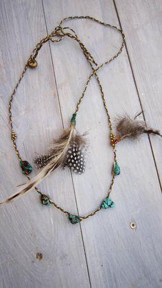 Gypsy headband/TurquoiseFeather/FairyPixieJewelry by GipsyGreen, €29.99