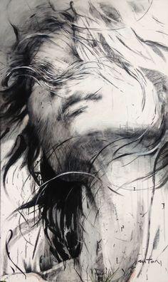 Lunaire (Peinture),  90x150 cm par Ewa Hauton fusain, huile, vernis sur toile, sur châssis