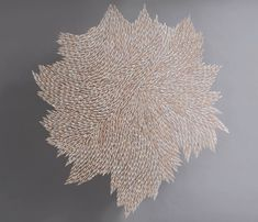 Rowan Mersh creates textural artworks that toe the line between two and three dimensions, using carefully placed swirls of one kind seashell for each artwork. Asabikeshiinh V, 2017, H155 x W137 x D0.07cm, Sliced Doxander Vittatus Shells, Fluorocarbon