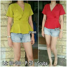 Short Sleeve Blouse, Red Green, Sleeves