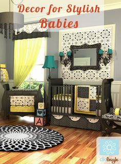 Black white and yellow baby girl nursery. From Dkleigh