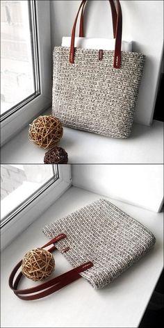 Crochet bag 366339750940526810 - Crochet Grey Color handbag Outfit Source by MamzelleYin Crochet Diy, Crochet Tote, Crochet Handbags, Crochet Purses, Free Crochet Bag, Crochet Ideas, Crochet Designs, Crochet Patterns, Popular Crochet