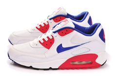 Nike Air Max 90 Essential Femmes Blanc Hyper Rouge Bleu
